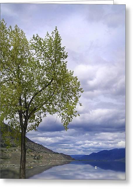 Okanagan Greeting Cards - Stormy Okanagan Lake Greeting Card by Lisa Knechtel