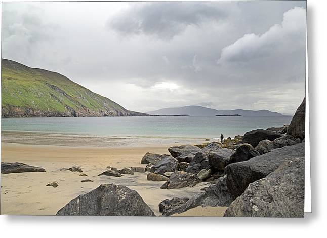 Green Day Greeting Cards - Stormy Peace Keem Beach Ireland Greeting Card by Betsy A  Cutler