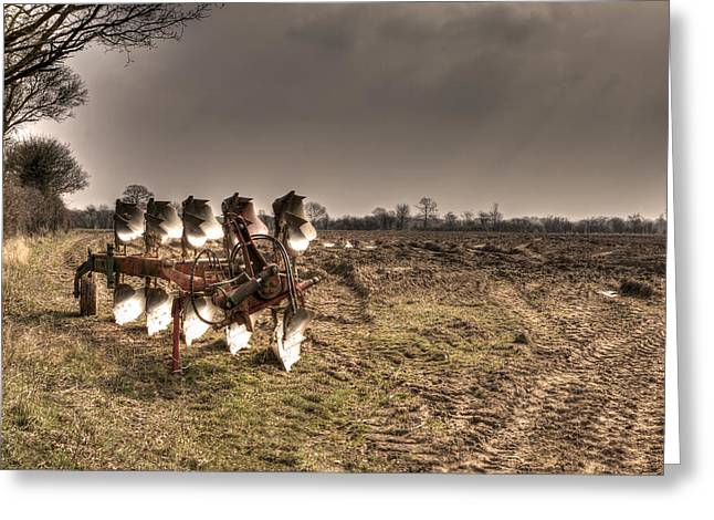 Water Scrapping Greeting Cards - Stormy Plough Greeting Card by Fizzy Image