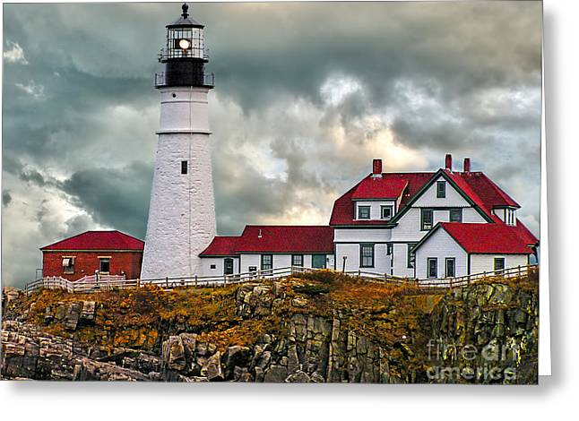 Maine Lighthouses Greeting Cards - Stormy Portland Head Light Greeting Card by Nick Zelinsky