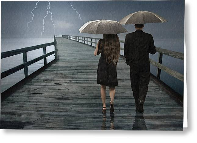 Lightning Wall Art Greeting Cards - Stormy Relationship Greeting Card by Randall Nyhof