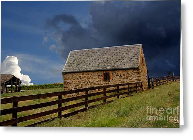 Outbuildings Greeting Cards - Stormy Rural Landscape Greeting Card by John Wallace