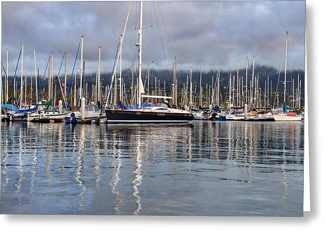 Santa Lucia Mountains Greeting Cards - Stormy Santa Barbara Harbor Channel Greeting Card by Dean Hueber