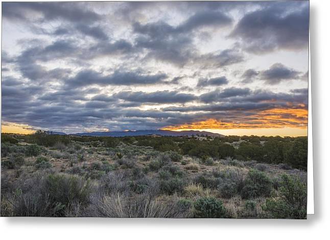 Northern New Mexico Greeting Cards - Stormy Santa Fe Mountains Sunrise - Santa Fe New Mexico Greeting Card by Brian Harig