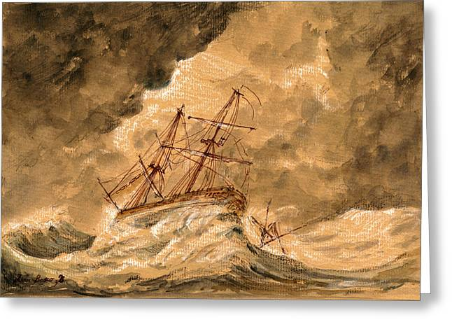 Stormy Sea  Greeting Card by Juan  Bosco