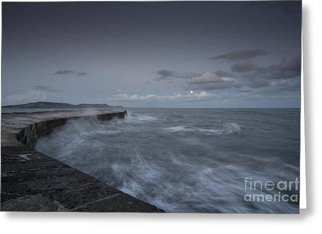 Sea Moon Full Moon Greeting Cards - Stormy seas at the Cobb  Greeting Card by Rob Hawkins