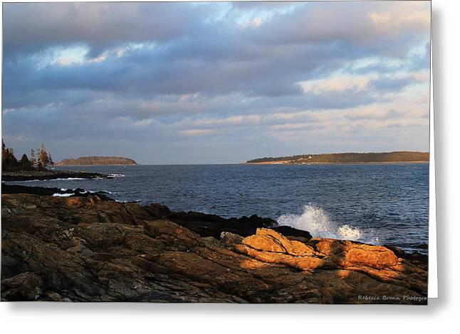 Coastal Maine Greeting Cards - Stormy Seas Greeting Card by Becca Brann