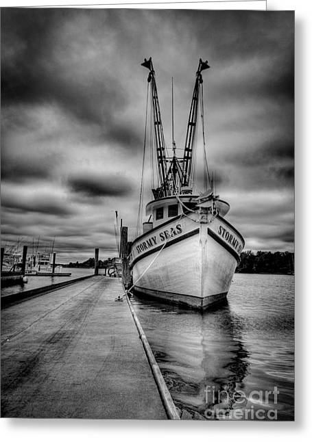 Shrimping Boat Greeting Cards - Stormy Seas Greeting Card by Matthew Trudeau