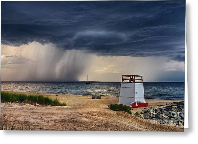 Pouring Greeting Cards - Stormy Seashore Greeting Card by Mark Miller