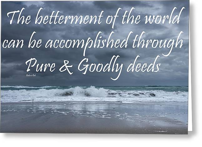 Positive Attitude Greeting Cards - Stormy see Bahai Quote Greeting Card by Rudy Umans