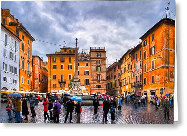 Storm Prints Greeting Cards - Stormy Skies Over A Roman Piazza Greeting Card by Mark Tisdale