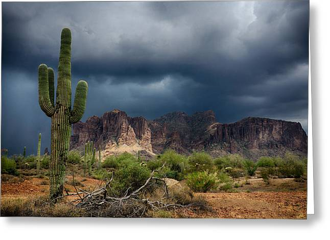 The Superstitions Greeting Cards - Stormy Skies Over the Superstitions Greeting Card by Saija  Lehtonen