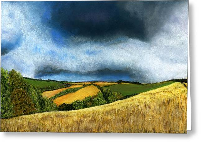 Storm Prints Pastels Greeting Cards - Stormy Skies Greeting Card by Sarah Dowson