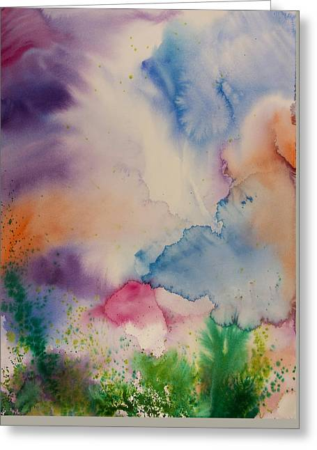 Wet Into Wet Watercolor Greeting Cards - Stormy Sky One Greeting Card by Brook Powell