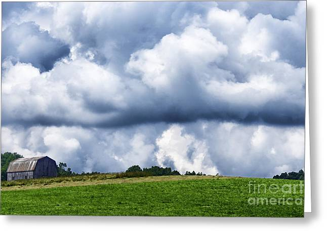Nicholas Greeting Cards - Stormy Sky and Barn Greeting Card by Thomas R Fletcher