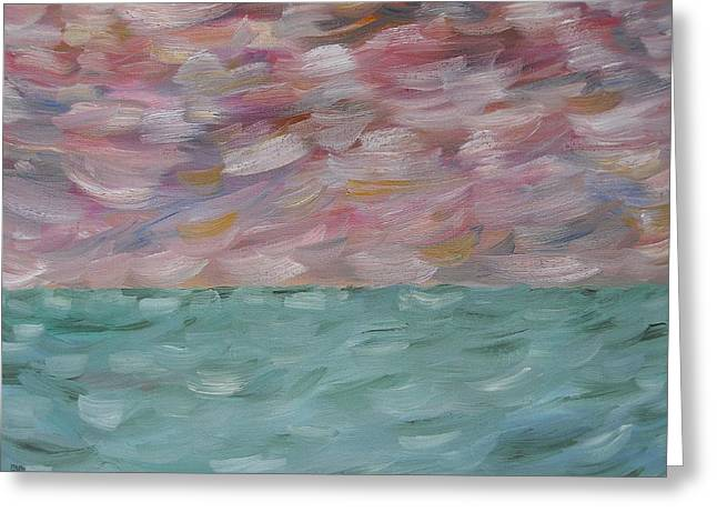 Tablets Paintings Greeting Cards - Stormy Sky And Sea Greeting Card by Patrick J Murphy