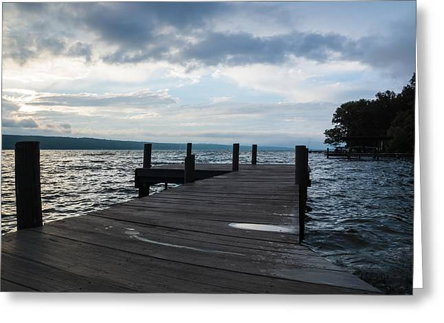 Stormy Sky Over Seneca Lake Greeting Card by Photographic Arts And Design Studio