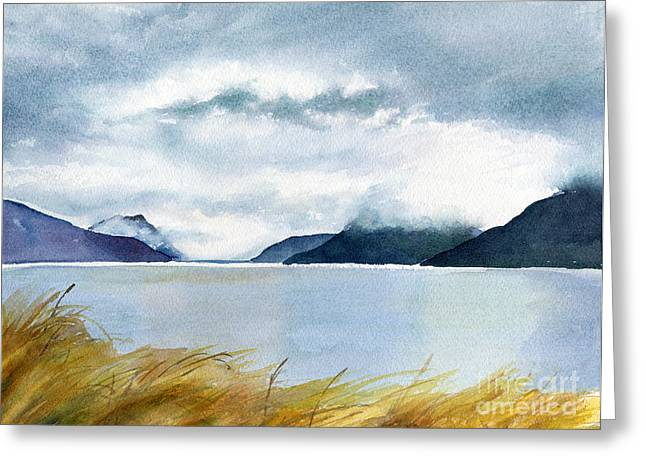 Storm Clouds Paintings Greeting Cards - Stormy Sky over Turnagain Arm Greeting Card by Sharon Freeman