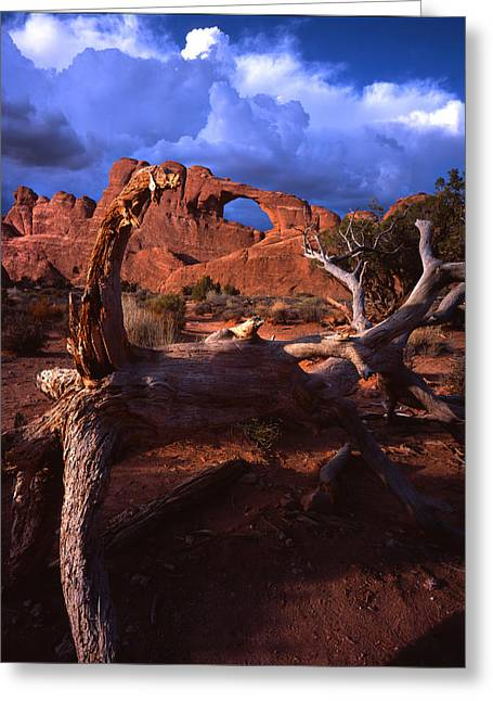 Skyline Arch Greeting Cards - Stormy Skyline Arch Sky Greeting Card by Ray Mathis