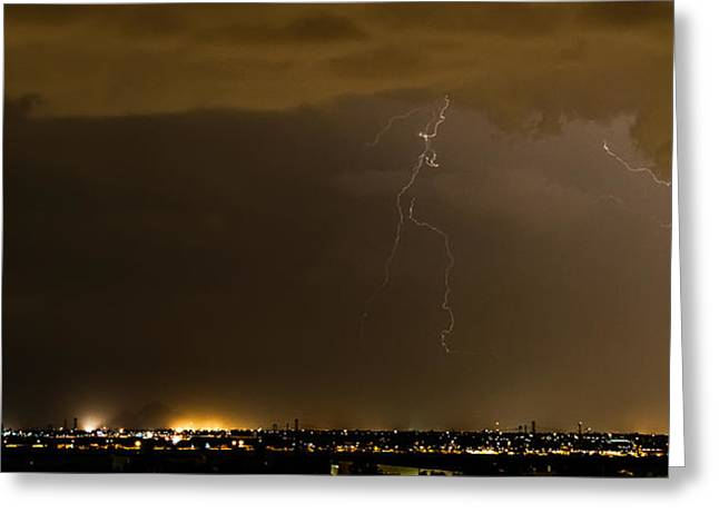 Stormy Stadium Greeting Card by Cory  Stangle