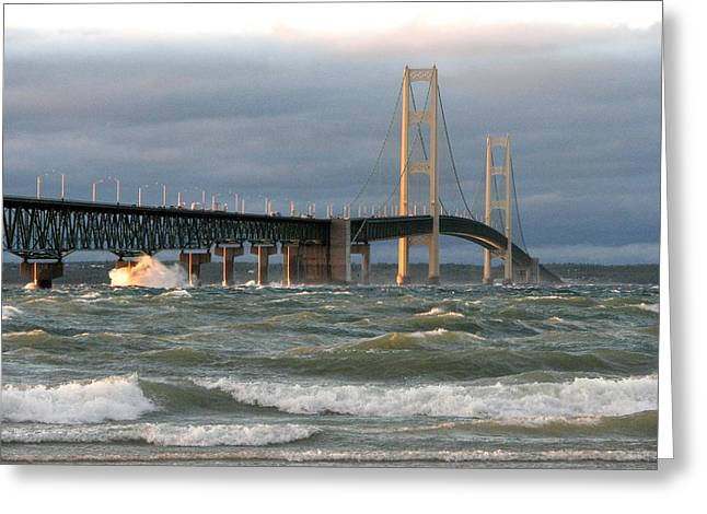 Mackinaw City Greeting Cards - Stormy Straits of Mackinac Greeting Card by Keith Stokes