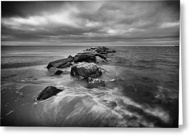 Long Island Sound Greeting Cards - Stormy Sunken Meadow Greeting Card by Mike Lang