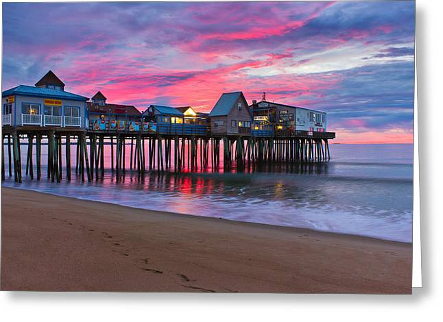 New England Ocean Greeting Cards - Stormy Sunrise at OOB Greeting Card by Benjamin Williamson