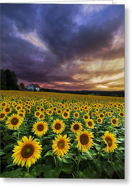 Swiss Photographs Greeting Cards - Stormy Sunrise Greeting Card by Debra and Dave Vanderlaan