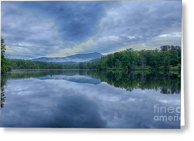 Stormy Sunrise Over Price Lake - Blue Ridge Parkway I Greeting Card by Dan Carmichael