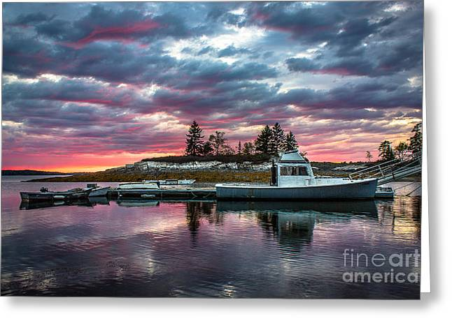 New England Ocean Greeting Cards - Stormy Sunset at Lookout Point Greeting Card by Benjamin Williamson