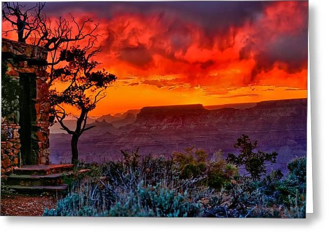 The Grand Canyon Greeting Cards - Stormy Sunset at the Watchtower Greeting Card by Greg Norrell