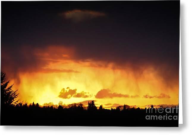 Kevin Barske Greeting Cards - Stormy Sunset Greeting Card by Kevin Barske
