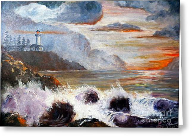 Lee Piper Art Greeting Cards - Stormy Sunset Greeting Card by Lee Piper