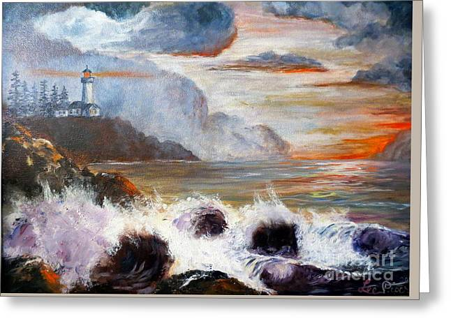Stormy Sunset Greeting Card by Lee Piper