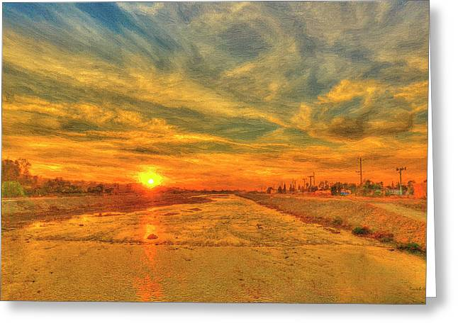 Bridge Over A Lake Greeting Cards - Stormy Sunset over Santa Ana River Greeting Card by Angela A Stanton