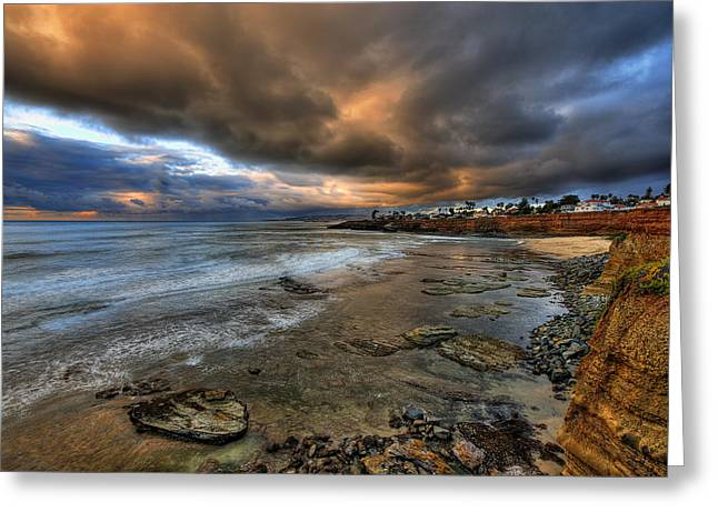 Point Loma Greeting Cards - Stormy Sunset Greeting Card by Peter Tellone