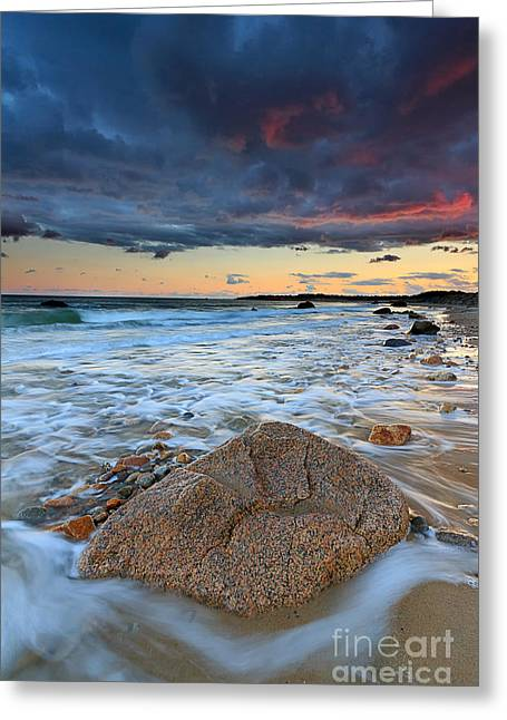 Storm Clouds Cape Cod Greeting Cards - Stormy Sunset Seascape Greeting Card by Katherine Gendreau