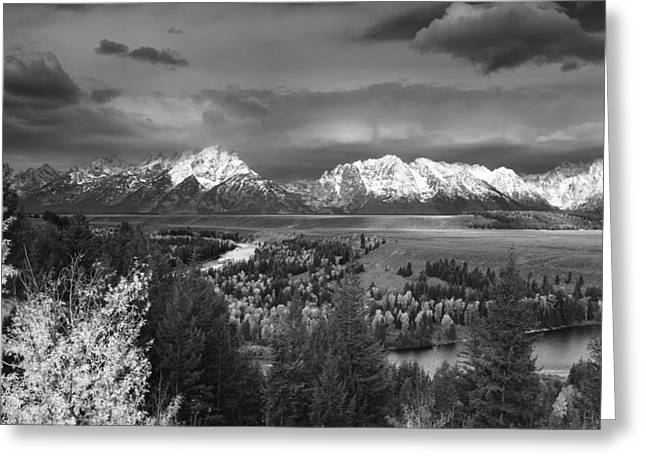 Outlook Greeting Cards - Stormy Tetons Greeting Card by Jennifer Grover