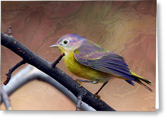 Warbler Digital Art Greeting Cards - Stormy Warbler Greeting Card by Harmonic Imagery