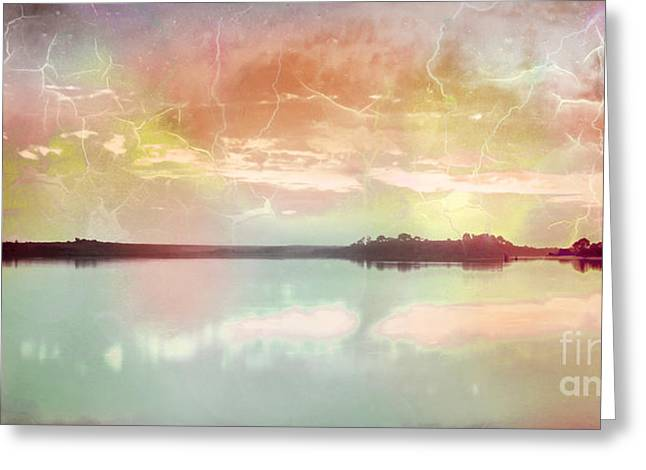 Surf Silhouette Digital Art Greeting Cards - Stormy Water Reflection Greeting Card by Phill Petrovic