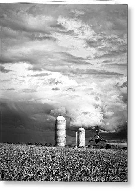 Silo Greeting Cards - Stormy Weather on the Farm Greeting Card by Edward Fielding