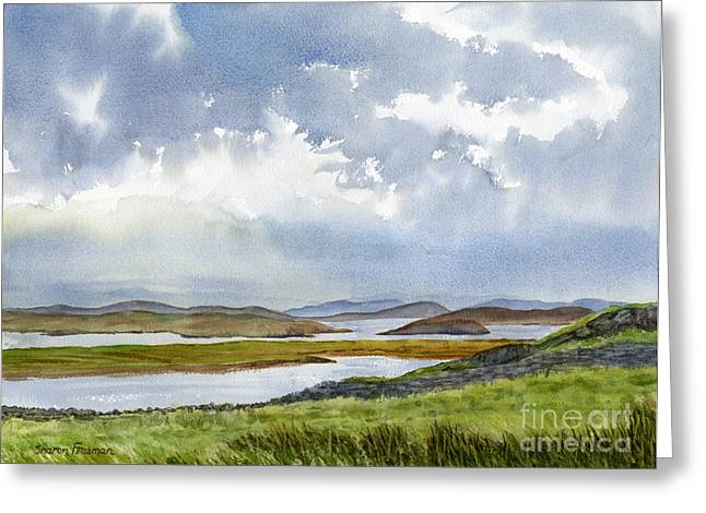 Cloudy Paintings Greeting Cards - Stormy Weather Outer Islands Greeting Card by Sharon Freeman