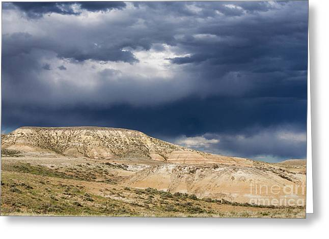 Geology Photographs Greeting Cards - Stormy Weather Over Badlands Greeting Card by Mike Cavaroc