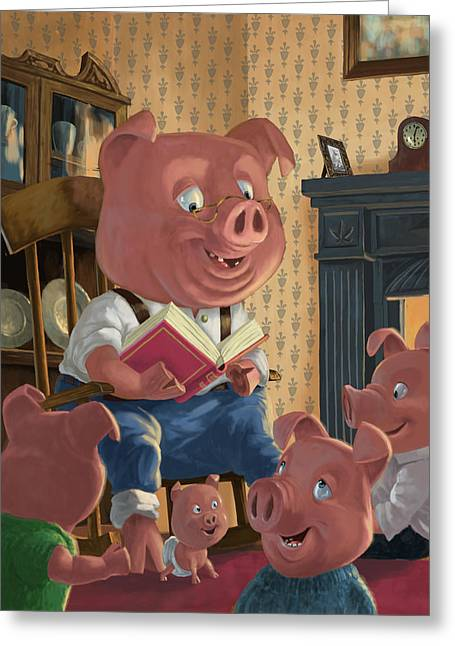 Storybook Greeting Cards - Story Telling Pig With Family Greeting Card by Martin Davey