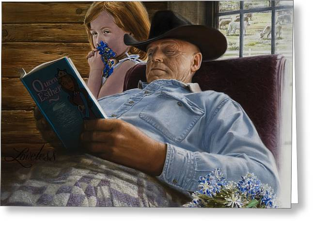 American Western Greeting Cards - Story Time Greeting Card by James Loveless