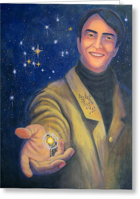 Janelle Schneider Greeting Cards - Storyteller of Stars - Artwork for the Science Tarot Greeting Card by Janelle Schneider