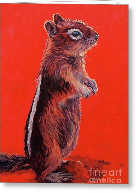 Chipmunk Greeting Cards - Storyteller Greeting Card by Patricia A Griffin