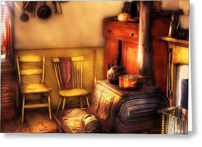 Old Stove Greeting Cards - Stove - An old farm kitchen Greeting Card by Mike Savad