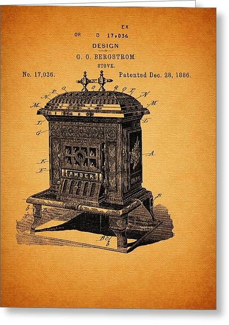 Conferring Greeting Cards - Stove Design and Patent 1886 Greeting Card by Mountain Dreams