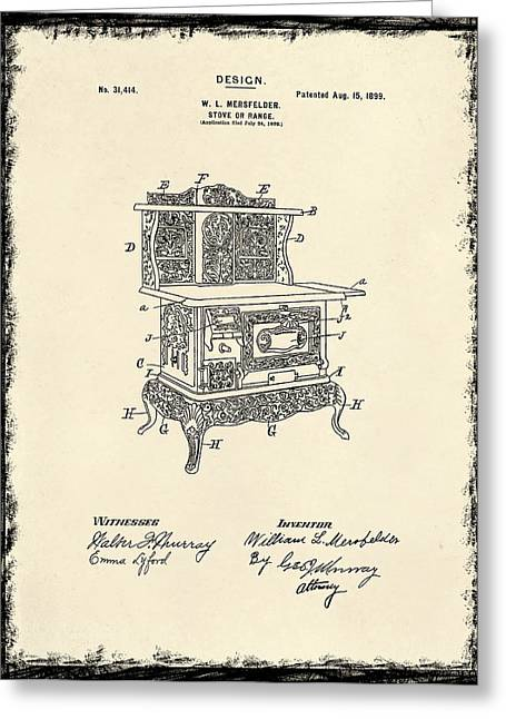 Stove Greeting Cards - Stove Patent 1899 Greeting Card by Mark Rogan